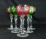 Set Of 6 Cut To Clear Bohemian Cordial Glasses 5-1/4h