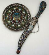 Vintage Double Headed Eagle Dove Bird Hand Made Metal Plate And Knife And Sheath