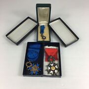 French Order Of National Merit Diamond Set Miniature And Legion D'honneur Medals