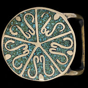 Early Tech Ether Guild Sibylis Turquoise Hippie Brass 70s Vintage Belt Buckle