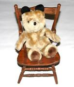 Paddington Bear And Wooden Chair Carved 12 Tall Vintage 1970s Eden Doll Furniture