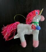 Plush Sequin Unicorn Ornament With Bright Yarn Mane/tail - Pink