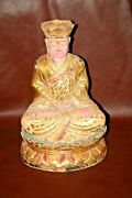 Antique 18 Tall Chinese Hand Painted Gilt And Carved Wooden Buddha Idol Statue