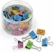 48 Pieces Multi-colored Smiley Binder Clips - Office School Arts And Crafts -...