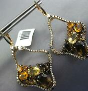 7.36ct Diamond Aaa Citrine And Smoky Topaz 14kt Rose Gold Flower Hanging Earrings