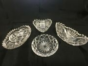 Salt Cellars Clear Glass Lot Of 4 Cut Glass And Pressed Glass