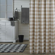 Wicklow Natural Cream Check Country Farmhouse Cotton Shower Curtain