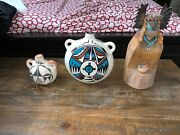Hopi-tewa Vintage Pottery Canteen And Wood Lot 3 Pieces