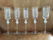 Lalique Roxane Flute Champagne Glass 8 3/4 Tall Never Used