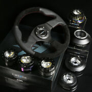 Nrg 142h Hub+gold Chrome Gen2.5 Quick Release+leather Suede Steering Wheel Black