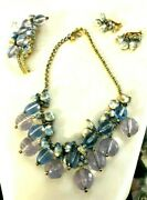 Juliana Dande Book Set Necklace, Brooch And Earrings Blue Crystals And Rhinestones