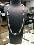 Cz Block Chain 925 Solid Sterling Silver Heavy Silver Necklace 7mm New 109gr