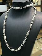 Cz Block Chain 925 Solid Sterling Silver Heavy Silver Necklace 5mm New 71gr