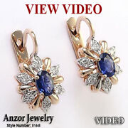 14k Rose And White Gold Genuine Diamond And Ceylon Sapphire Russian Style Earrings