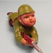Soldier In Combat Uniform Spring Doll Celluloid Antique Rare Vintage Tin Toy