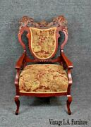 Antique Victorian Ornately Carved Shield Back Arm Chair Burgundy Floral Tapestry