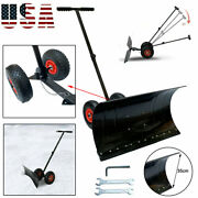 Heavy Duty Rolling Snow Shovel Pusher With 10 Pivot Wheels And Adjustable Handle