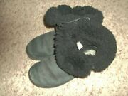 Black Suede And Shearling Uggs Boots Size 7