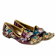 Dolce And Gabbana Baroque Velvet Crystal Ballerinas Loafers Shoes Purple Gold ...