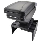 Universal Leather Car Armrest Pad Covers Center Console Black Storage Rotatable