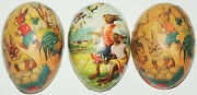 Antique German Paper Mache Easter Egg Candy Containers Anthropomorphic Rabbits