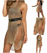 Women Ladies Metallic Chain Rose Gold Sleeveles Knit Distressed Side Split Dress