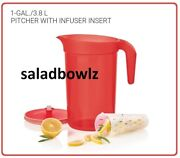 Tupperware Classic 1 Gallon Pitcher W/ Infuser Insert Make Citrus Water In Red