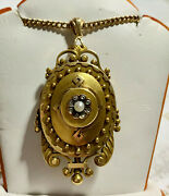 Antique Victorian 18k Yg Watch Locket Pendant Rose Cut Diamonds And Seed Pearl