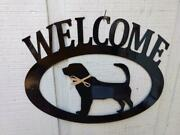 Bloodhound Handcrafted Metal Welcome Sign Black Silhouette Made In The Usa