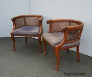 Pair Vintage Tomlinson French Cane Club Chairs W Rams Head Rests Hoof Feet As-is