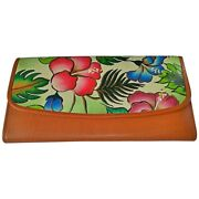 Swank Bags Leather Hand Painted Woman's Purse/wallet, Flowers, Ab-hp-590
