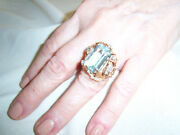Vintage Aquamarine And Diamond Coctail Ring Set In A Custom Free-form Base