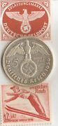 -1--1936-olympic Stamp And-silver Eagle.900 Coin+ Ww2 -german Stamps