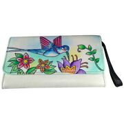 Swank Bags Leather Hand Painted Woman's Purse/wallet, Hummingbird, Ab-hp-901