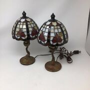 Vintage Mid-century Modern 2 Koi Fish Brass Table Lamp W/stained Glass Shades