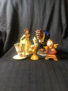 Vintage Disney Beauty And The Beast Figurines Chip Lumiere Cogsworth Japan