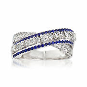 Vintage Piero Milano Diamond And Sapphire X Ring In 18kt White Gold Size 7