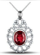 Black Friday 2.14ct Natural Diamond Ruby 14k Solid White Gold Pendant