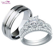 Wedding Rings Set For Him And Her Women Men Tungsten Band 925 Sterling Silver Cz