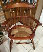 100 Year Old Early Comb Back Rush Seat Arm Chair
