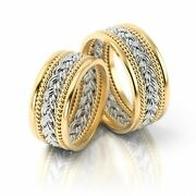 1 Pair Gold 585 Wedding Rings Bands With Pattern - New Design - Top