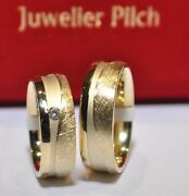 1 Pair Wedding Rings Yellow Gold 333 Width 7mm - Strength 22mm With Brilliant