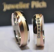 1 Pair Wedding Rings Tricolor 333 Width 55mm Womenand039s Ring With Diamonds 014ct