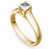 Engagement Ring - Gold 585 Yellow Gold Brilliant 050ct Tw / Si - Novelty