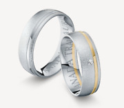One Pair Wedding Rings Gold 585 Bicolour With Diamond R / If 0,03ct. Ice Matte /