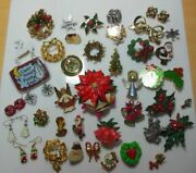 Vintage Christmas Brooches/pins, Earrings Estate Jewelry Lot