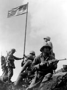 V4190 Flag On Iwo Jima Us Army Troops Soldiers War Ww2 Wall Print Poster