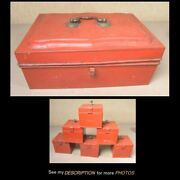Antique Tin Metal Covered Spice Box 6 Tin Spice Containers Original Red Paint