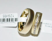 1 Pair Wedding Rings Bands Gold 585 - With Zirconia - 5mm To 10 Mm