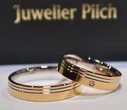 1 Pair Wedding Rings Bands Bicolour 585 - 1x Stone - Width 45 Mm